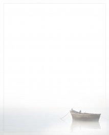 Rouwbrief dubbel plano met vissersboot