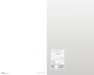 Carte double avecoiseau et mer sur fond gris