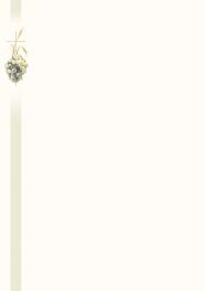 Faire-part A4 fleur, croix et épi