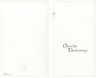 Deelnemingskaart, dubbel formaat met opdruk 'Oprechte Deelneming'