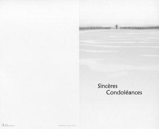 Carte de condoléances, format double avec marquage 'Sincères Condoléances'