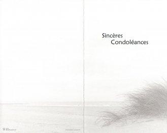 Deelnemingskaart, dubbel formaat met opdruk 'Sincères Condoléances'